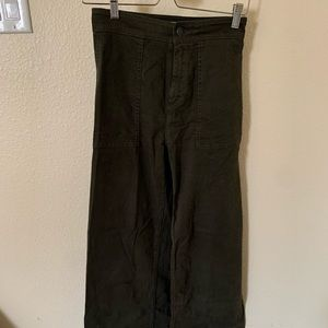 Lou & Grey wide legged olive green pants